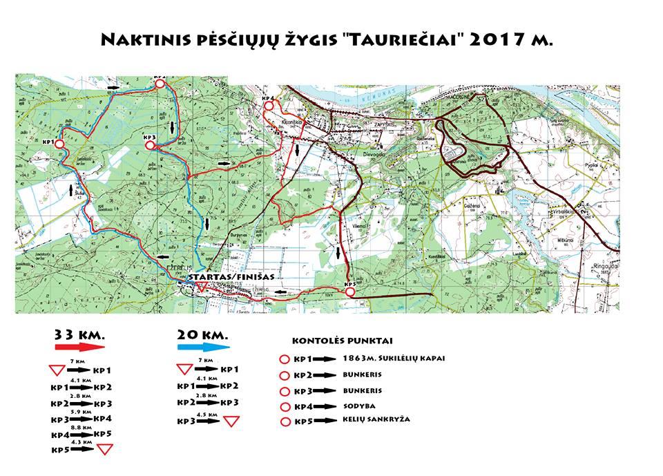 Tauriečiai žygio žemėlapis 2017.03.03
